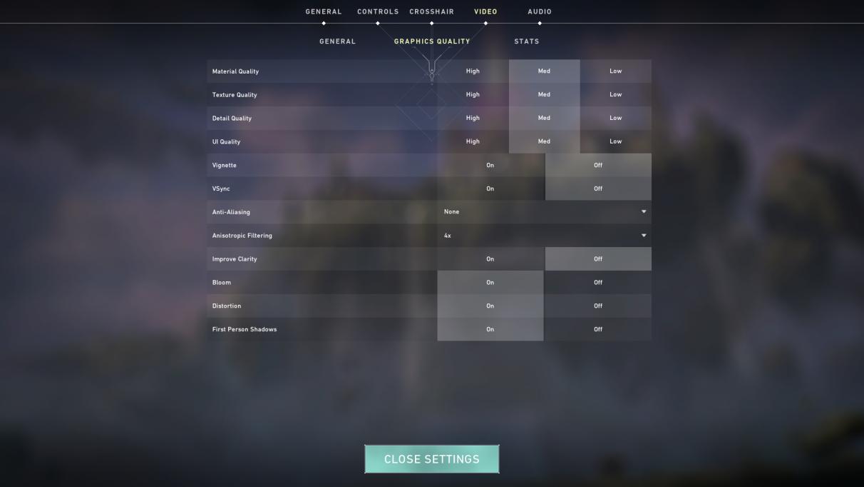 Valorant PC graphics quality settings