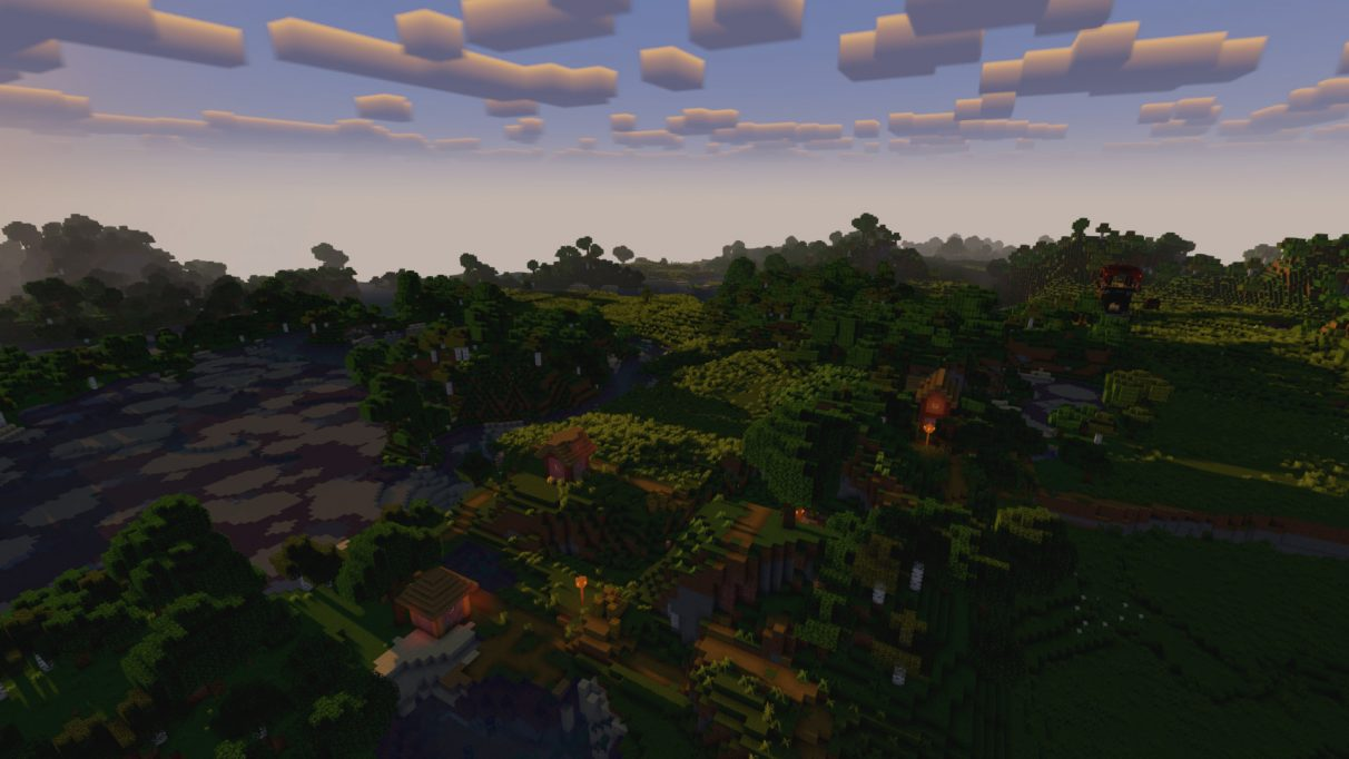A forest village overlooking a shallow lake, rendered in Minecraft Vanilla Plus shaders for 1.16.2.