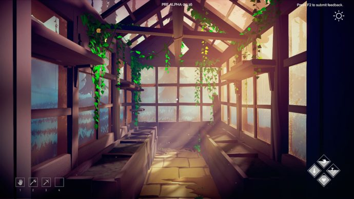 An image of the inside of a player-built greenhouse in Among Trees.