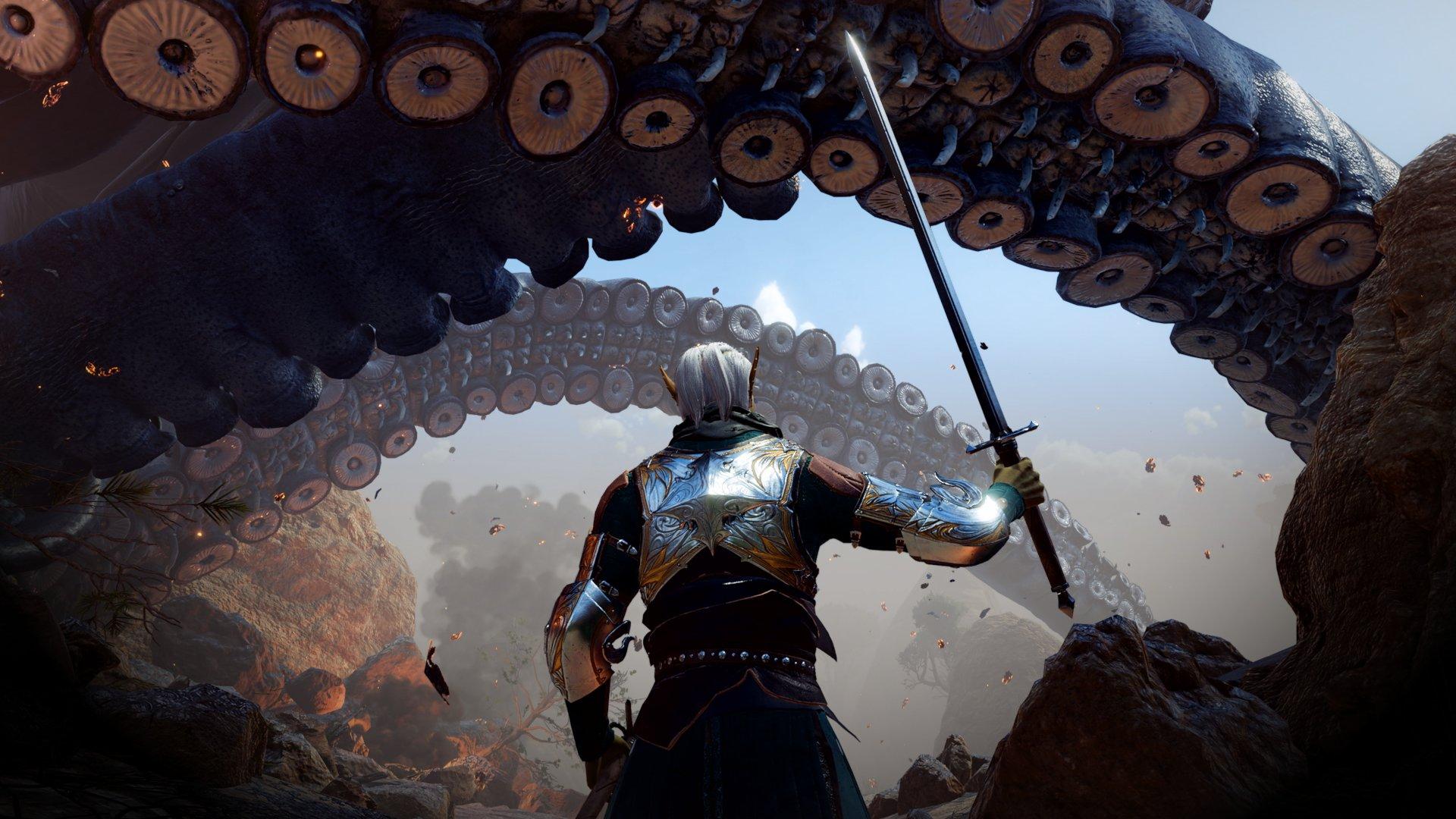 Unfurling tentacles in a Baldur's Gate 3 screenshot.