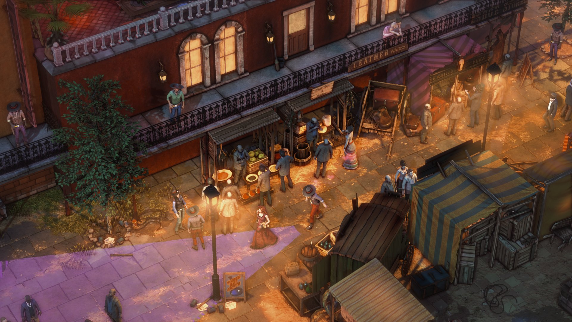 A screenshot of a bustling town street in Desperados 3