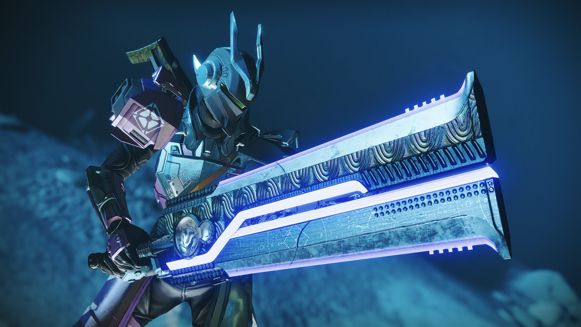A screenshot from Destiny 2 of a space man with a really really massive sword