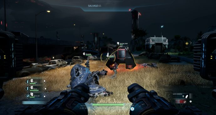 You collect salvage from defeated enemies in Disintegration.