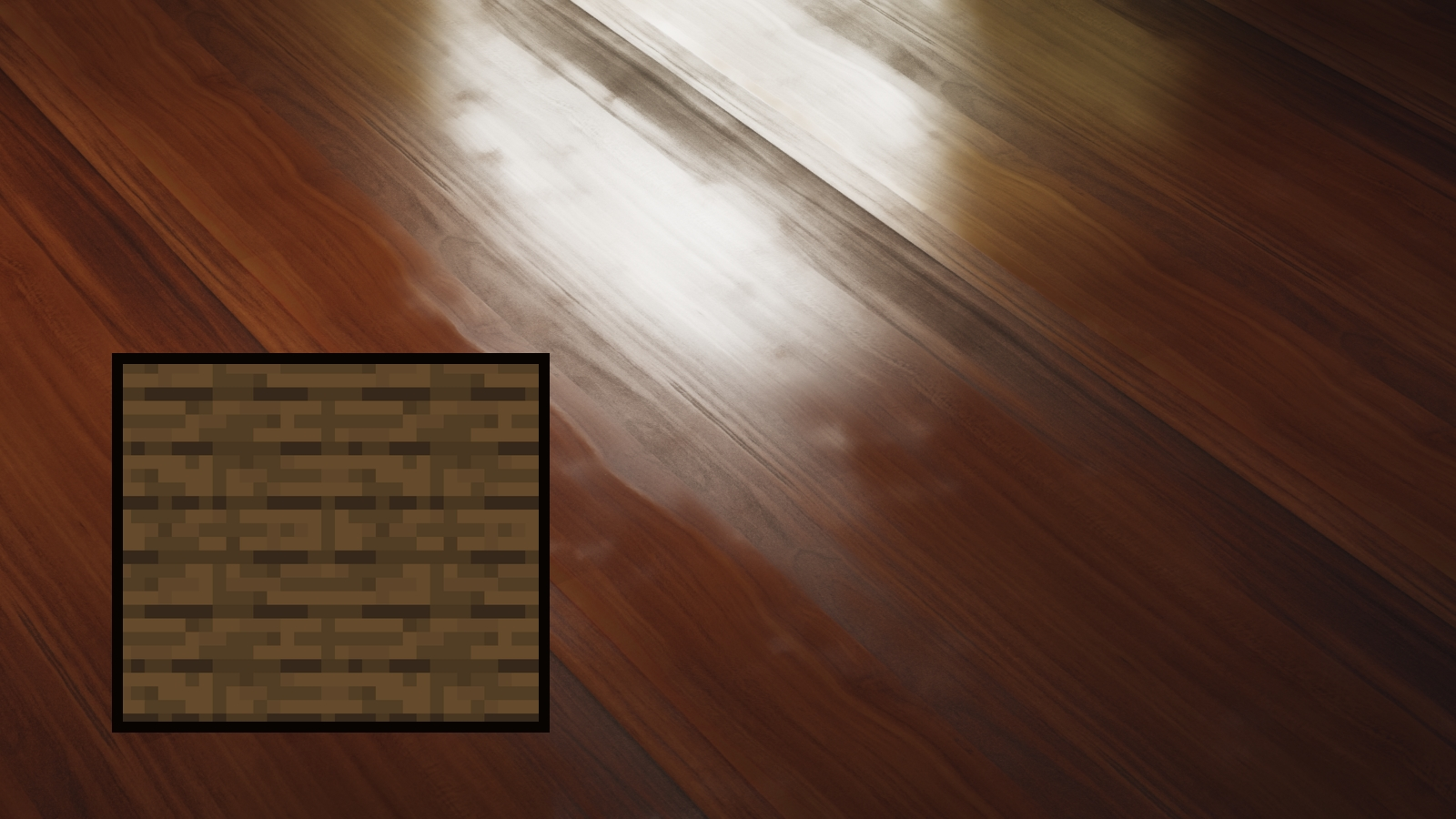 A screenshot of a really shiny, high-res textured floor in Ultimate Immersion for Minecraft.