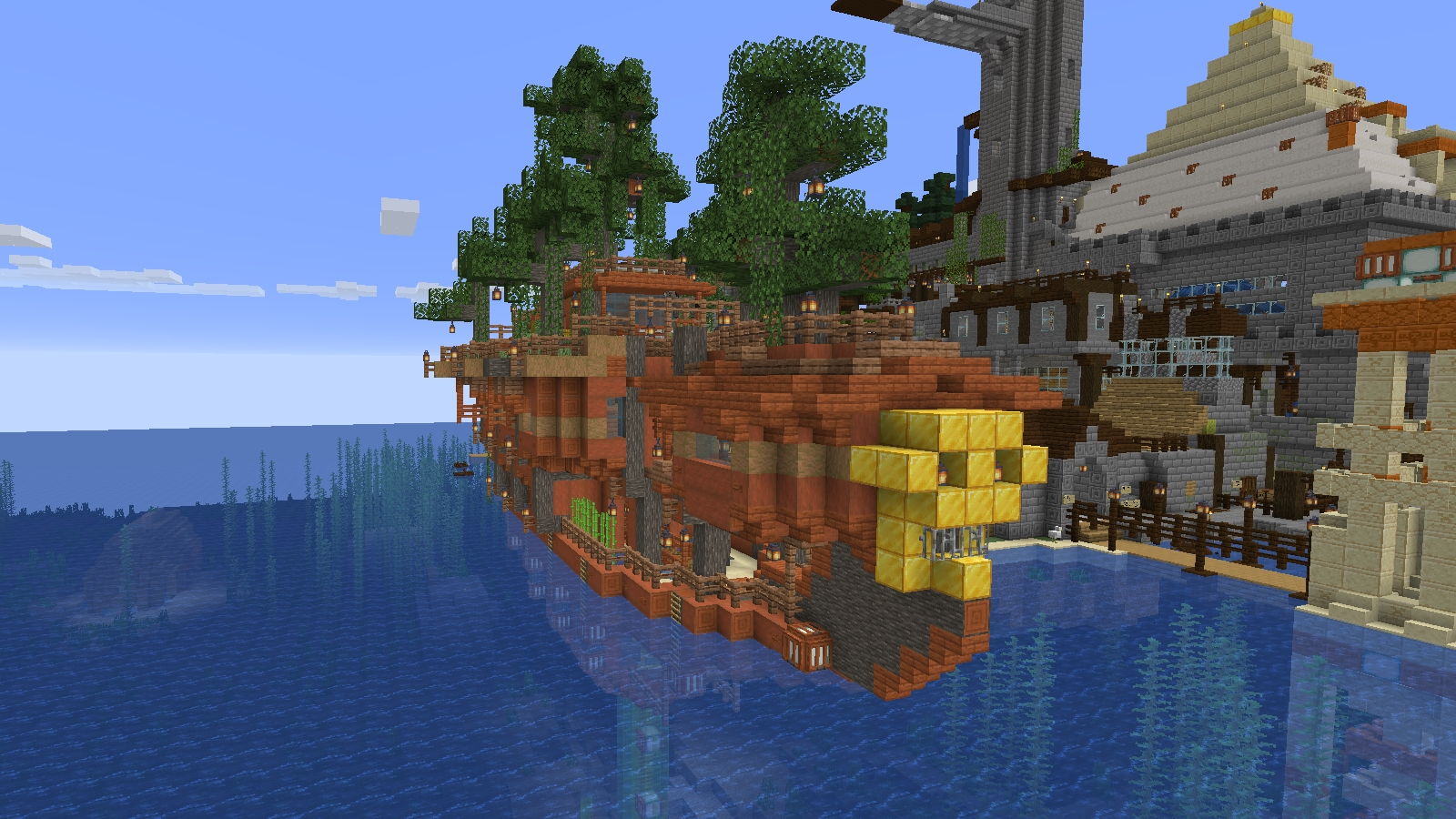 An image of a boat Nate made in vanilla Minecraft.