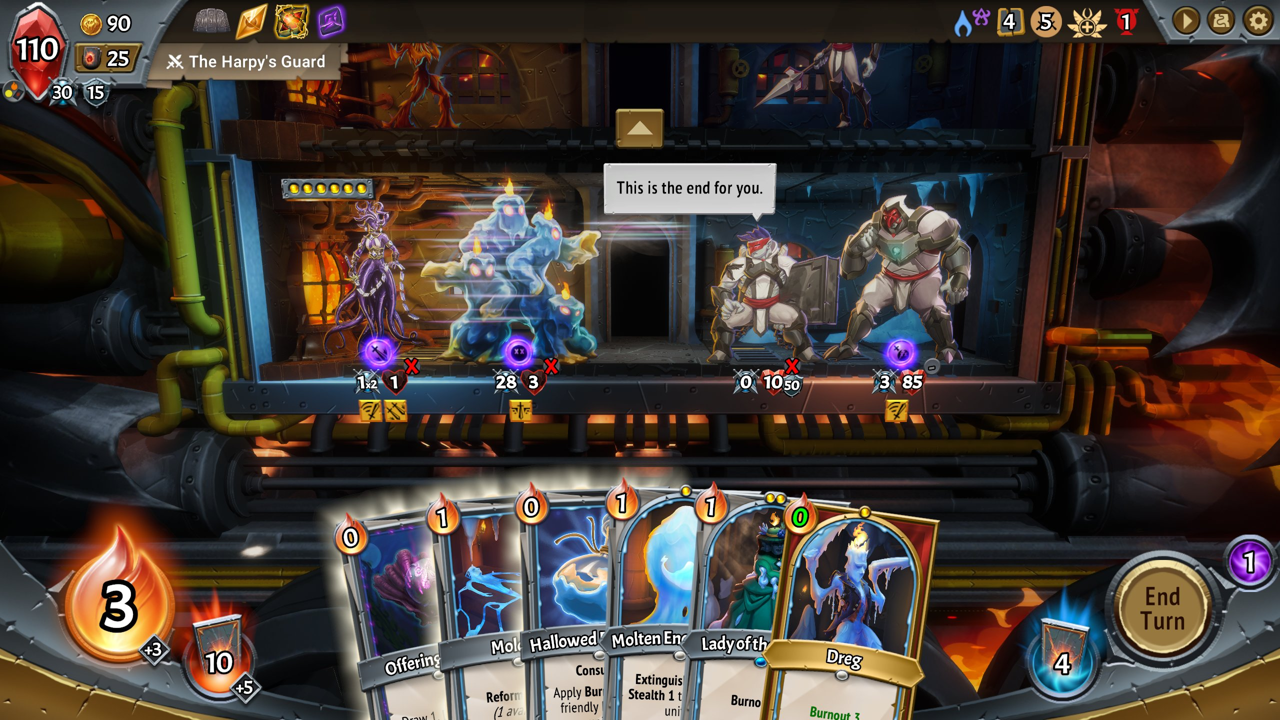 On one side of a train carriage, a mass of monsters resembling walking candles, back up by a purple squid woman. Facing them, on the left side, are two big soldiers armoured in white cloth and grey mental. At the bottom of the screen, the players deck of cards is arrayed.