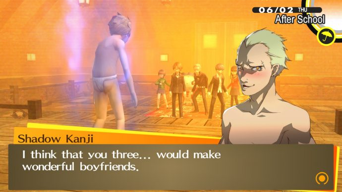 A screenshot showing dialogue from Kanji in Persona 4's PC port.