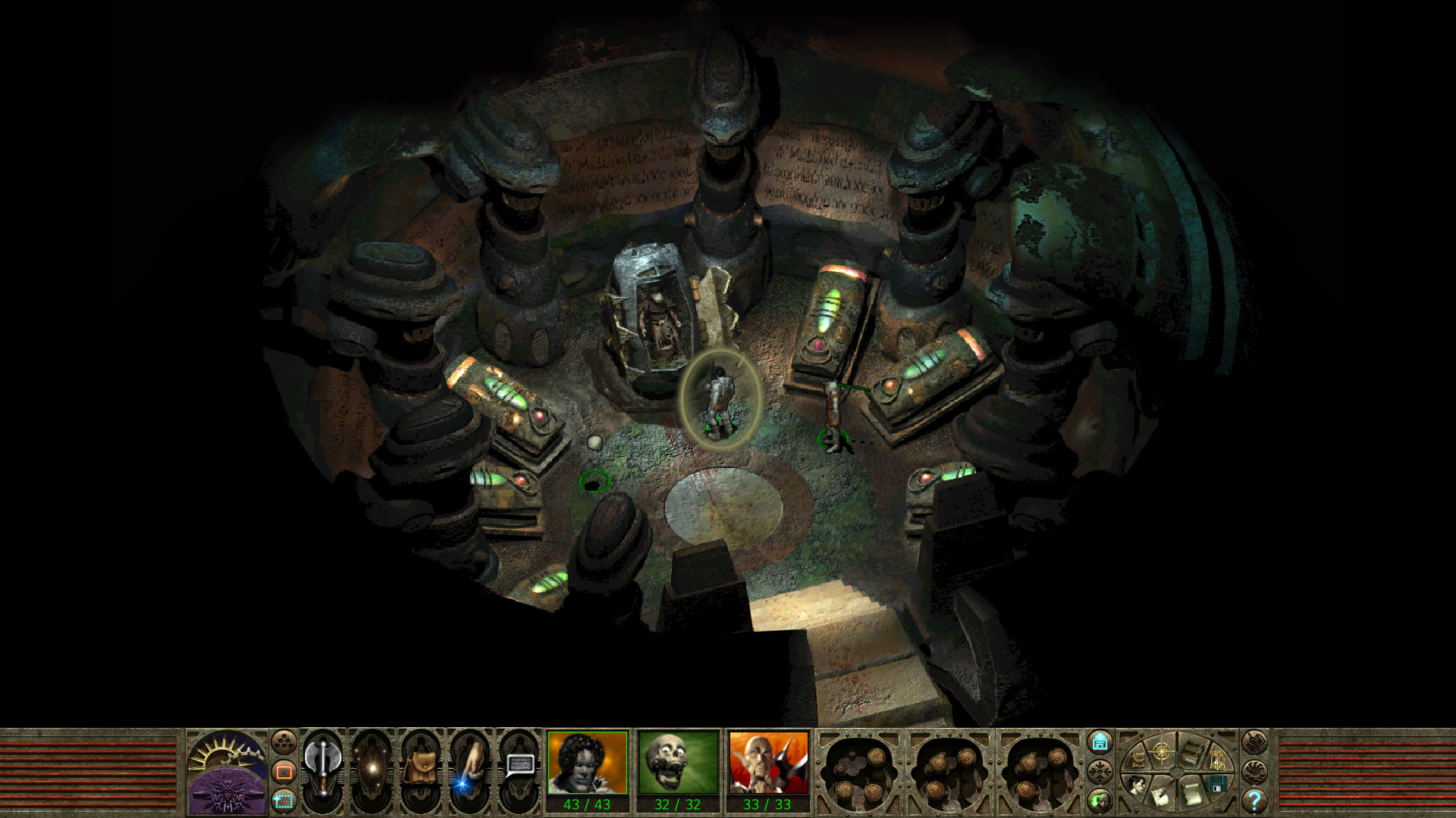 A screenshot from Planescape: Torment showing the main character standing in a mysterious room, looking at a scientific pod holding an unknown figure