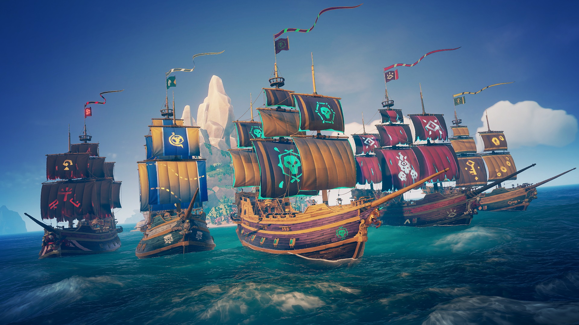 A flotilla of pirate ships in a Sea Of Thieves screenshot.