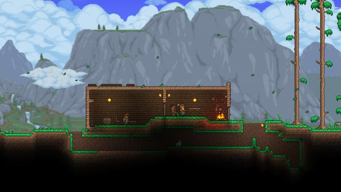 A merchant and the helper Terraria NPCs have set up their rooms and now live peacefully indoors.