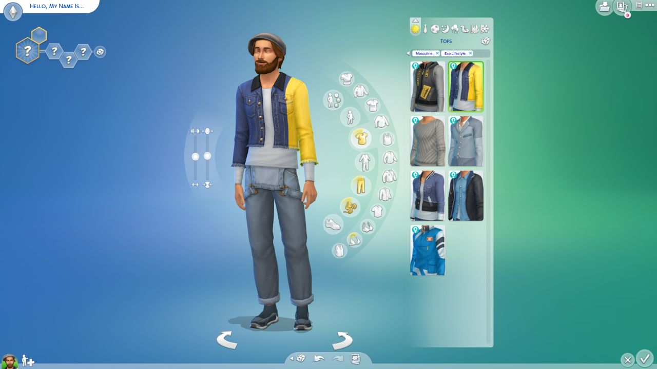 A screenshot of a masculine Sim in Create-a-Sim in The Sims 4 Eco Lifestyle expansion, wearing a new pair of dungarees and a denim jacket added with the expansion.