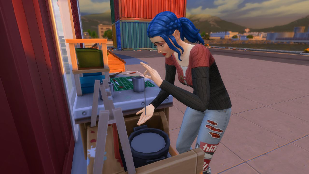 A Sim in The Sims 4 Eco Lifestyle expansion pack is making a candle by dipping the wick into hot wax (she is very bad at making candles)