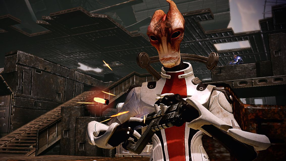 A screenshot of Mordin the scientist alien lizard from the Mass Effect series