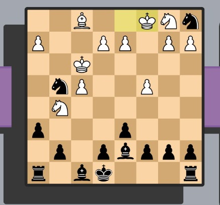 Again, a hard to describe chess board. Black is in a slightly stronger position, and there are two white kings, neither under threat.