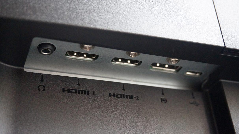A close-up of the BenQ EX2780Q's display inputs