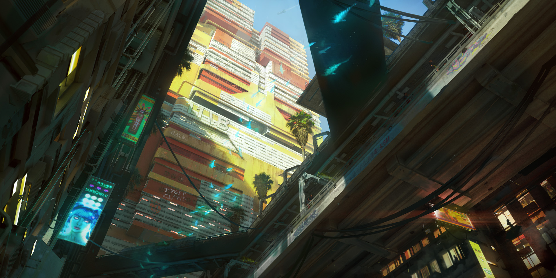 Concept art showing a tall yellow and orange apartment block, with rounded edges to the walls.