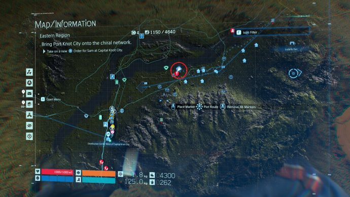 The first cube location on the map in Death Stranding.