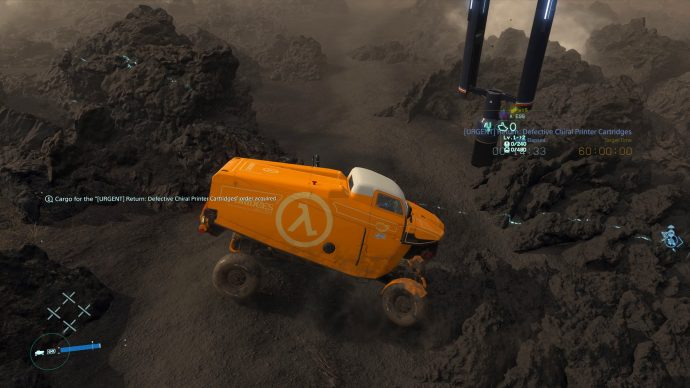 The Lambda Half-Life decoration for vehicles in Death Stranding. The truck is stuck between two rocks.