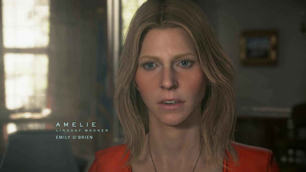 A screenshot of Amelie from Death Stranding