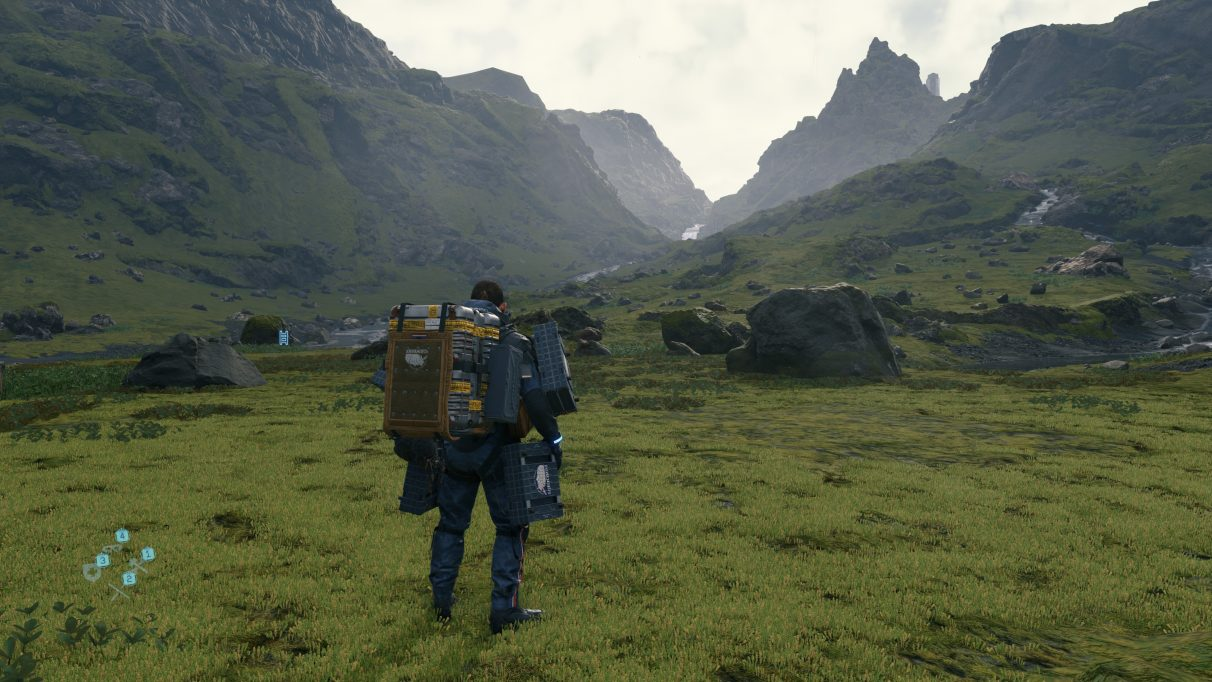 A screenshot of a landscape in Death Stranding with DLSS switched off.