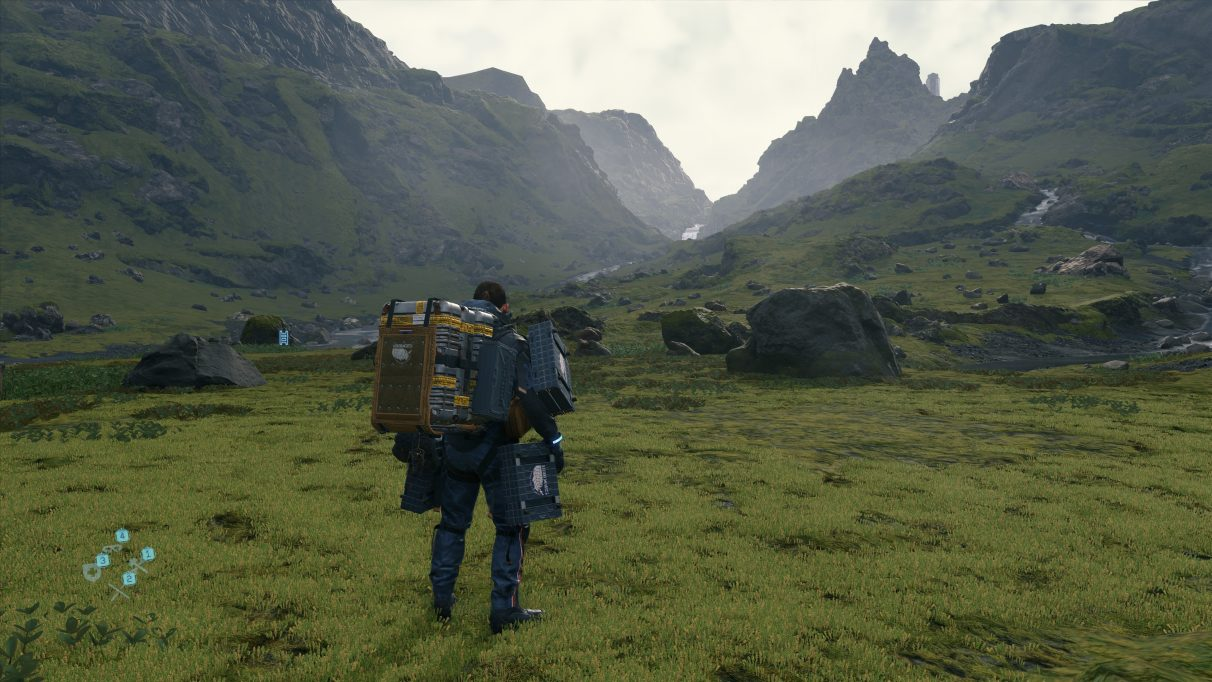 A screenshot of a landscape in Death Stranding with DLSS performance mode enabled