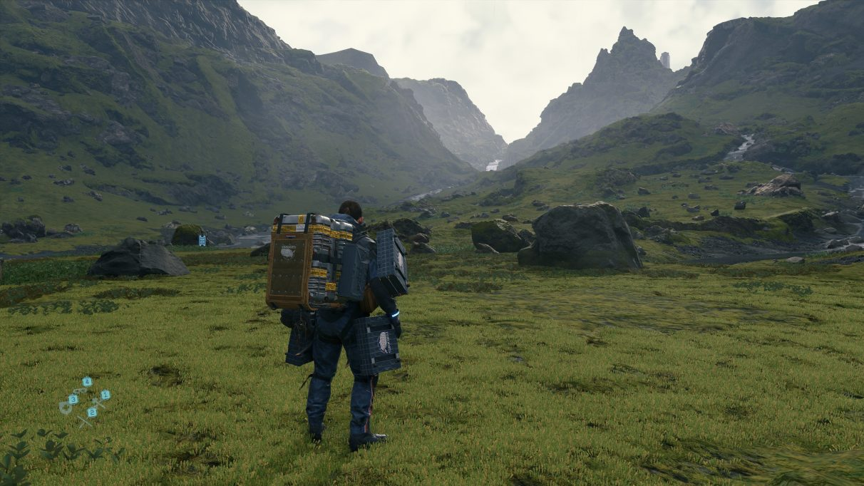 A screenshot of a landscape in Death Stranding with DLSS quality mode enabled