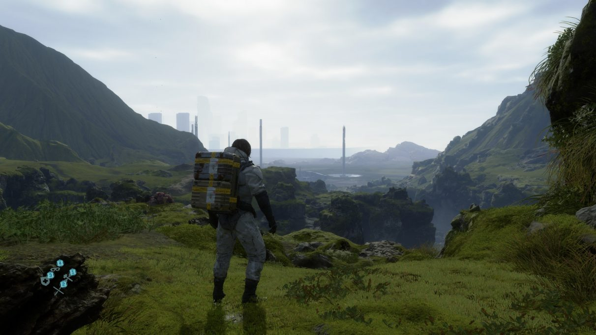 A screenshot showing the Default graphics preset in Death Stranding.