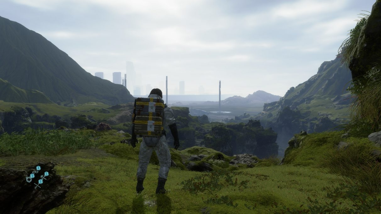 A screenshot showing the Low graphics preset in Death Stranding.