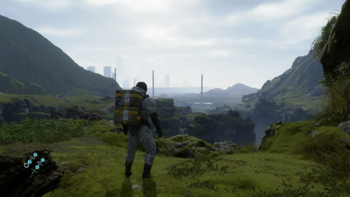A screenshot showing the Medium graphics preset in Death Stranding.