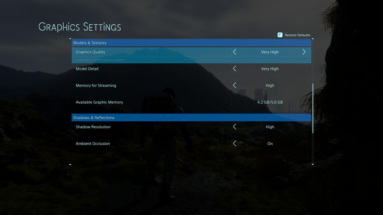 Death Stranding's PC graphics settings menu.