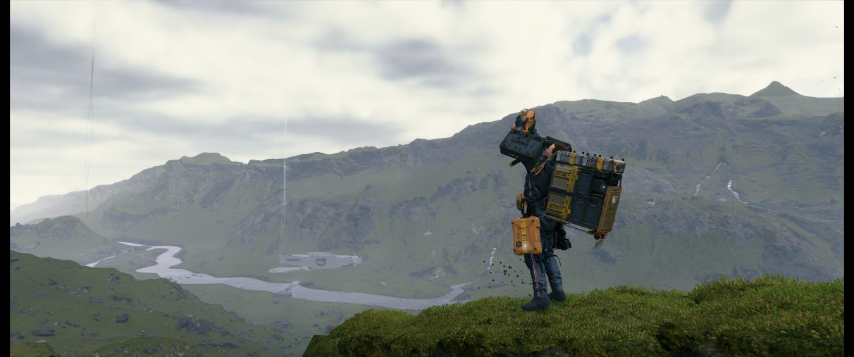 An ultrawide screenshot of Death Stranding's photo mode, showing Sam Bridges holding up his BB like Simba from The Lion King.