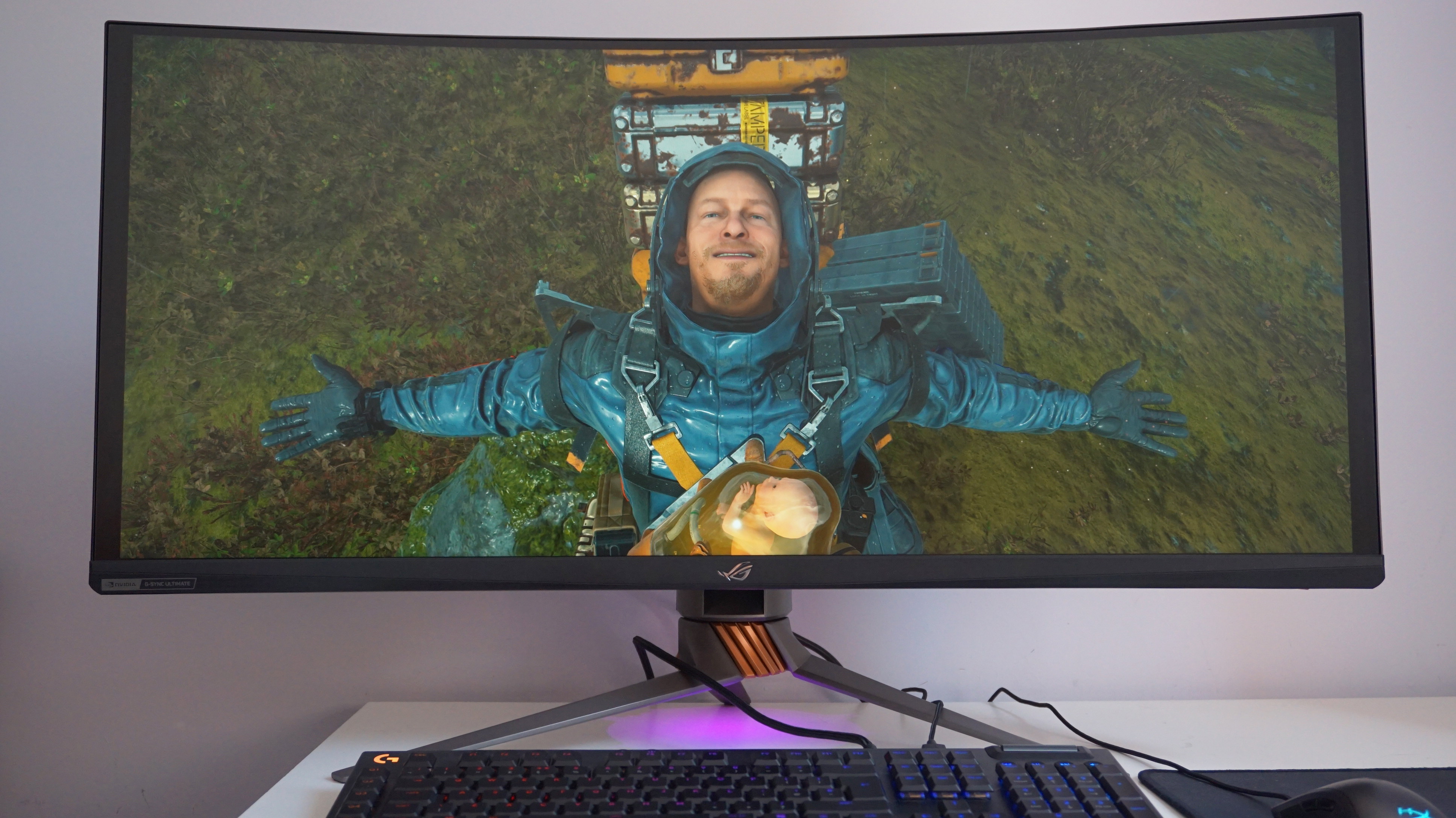 An image of Death Stranding on an ultrawide gaming monitor.