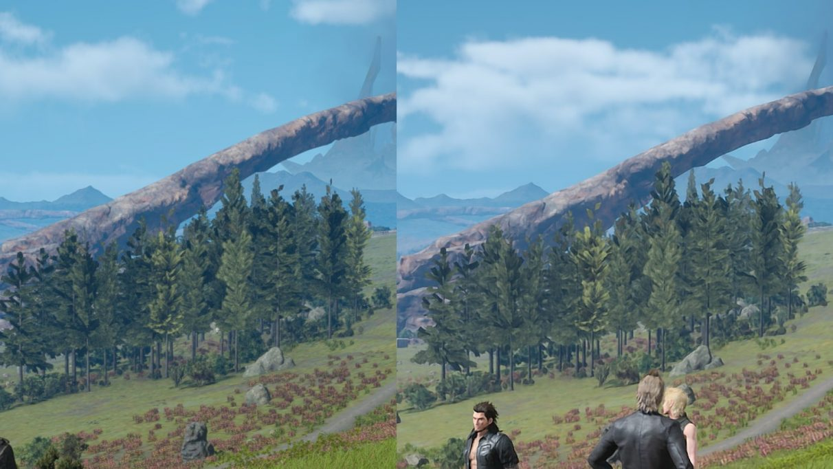 A close-up comparison of DLSS 1.0 in Final Fantasy XV
