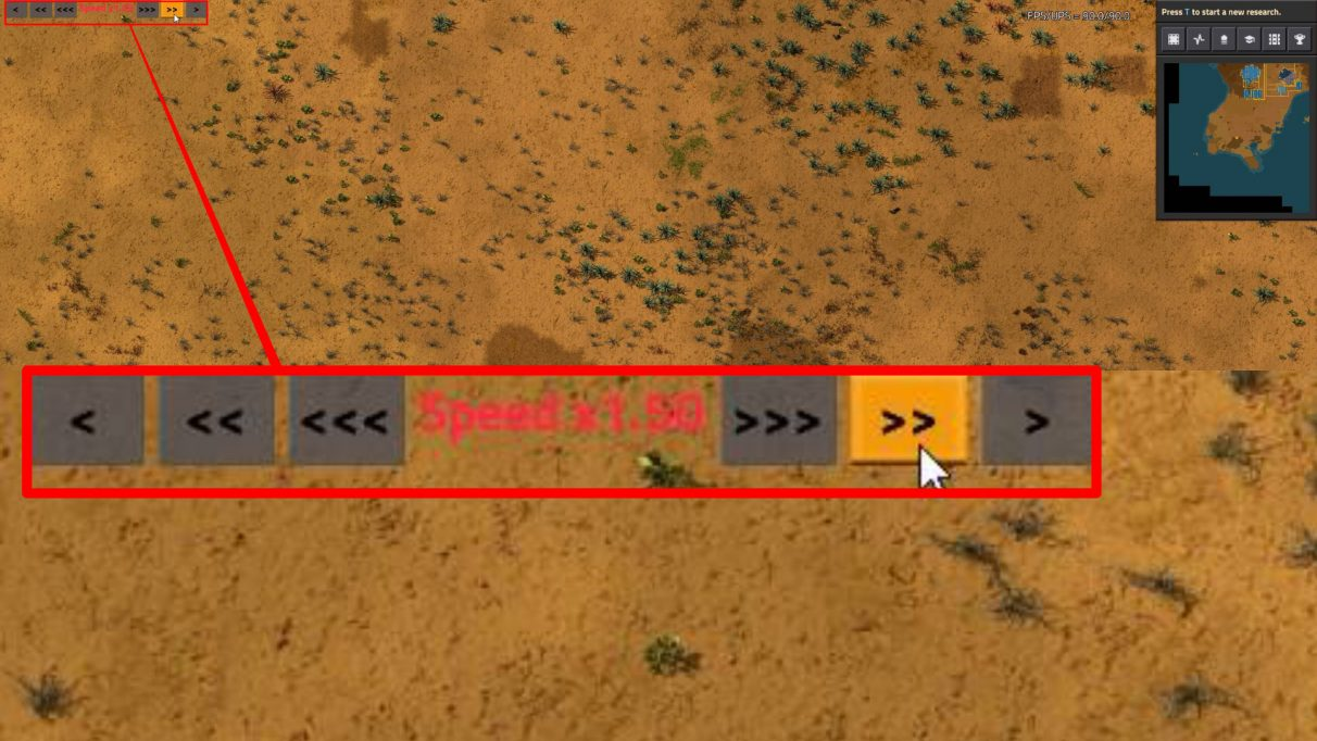 The Speed Control Factorio mod gives you a handy overlay with which you can control the speed of the game.