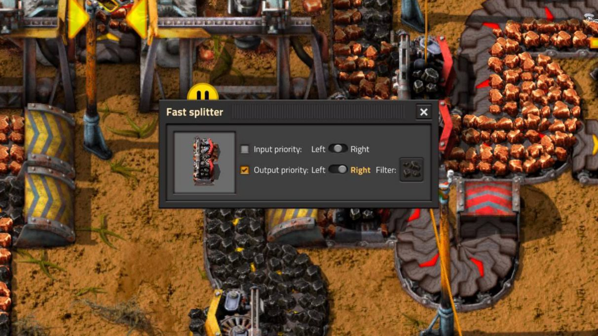 Clicking on a splitter in Factorio allows you to set input and output priorities, and to filter certain items.