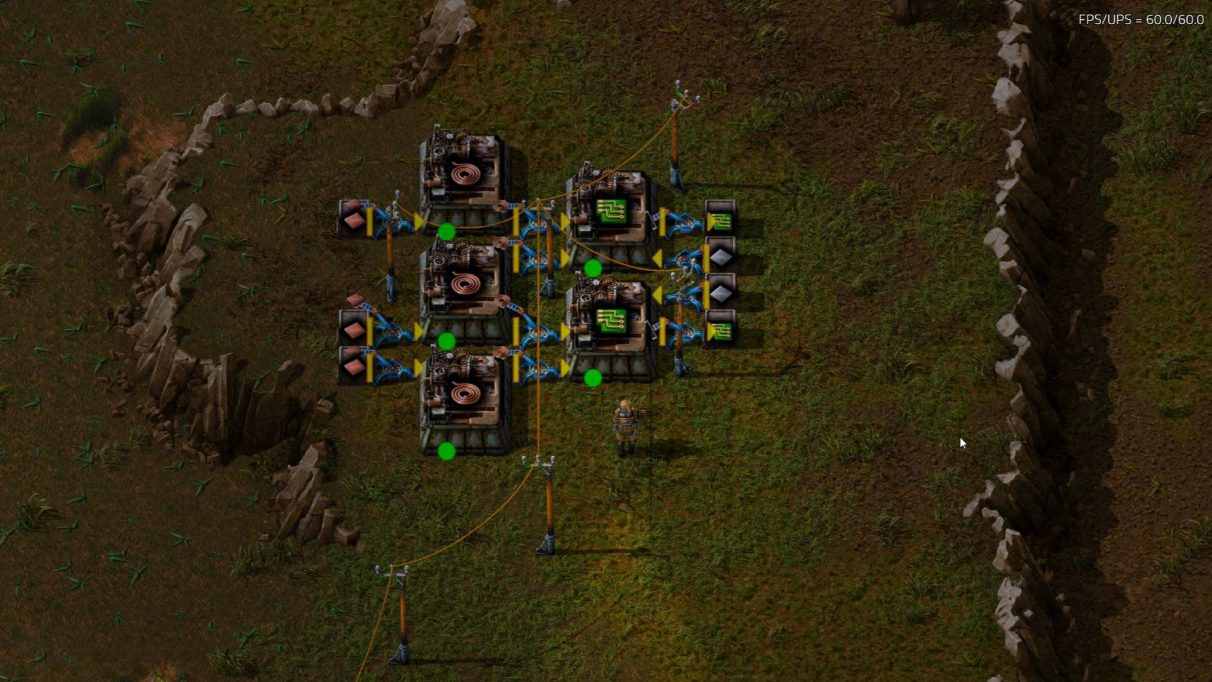 A basic Green Circuit factory module, useful for the early game of Factorio.