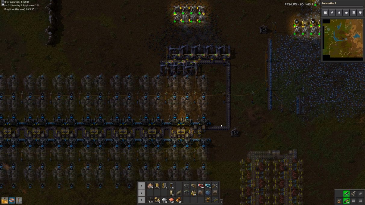 You can see in this screenshot that I've placed my first few Electric Mining Drills over coal and hooked it up to my Steam Power module.