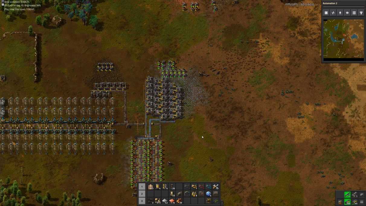 This is what my Factorio game looks like after an hour of playtime.