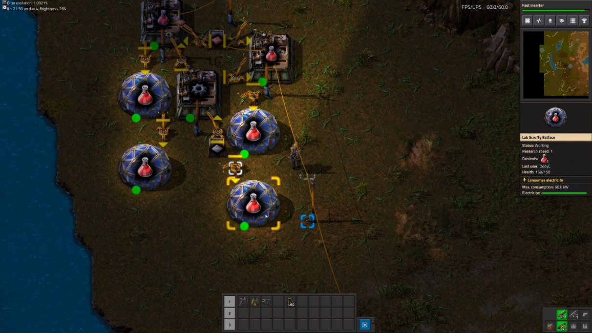 You can link Labs together with Inserters in Factorio, and the inserters will take surplus Science from one Lab and drop it into the next Lab.