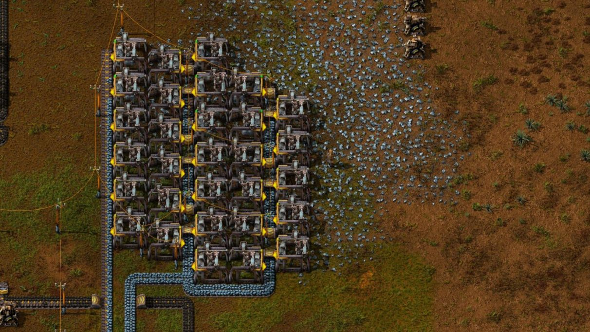 My preferred Electric Mining Drill layout in Factorio.