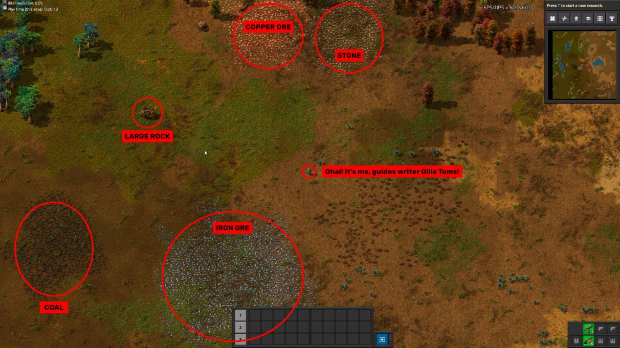 Get your priorities straight when starting a new Factorio game. Large Rocks first, then iron and coal, then copper and stone.