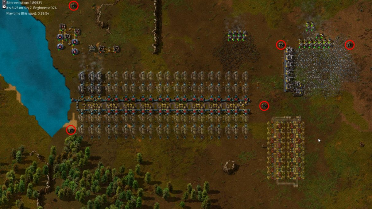 The red circles indicate where I decided to place my first few Turrets in order to protect my fledgling factory.