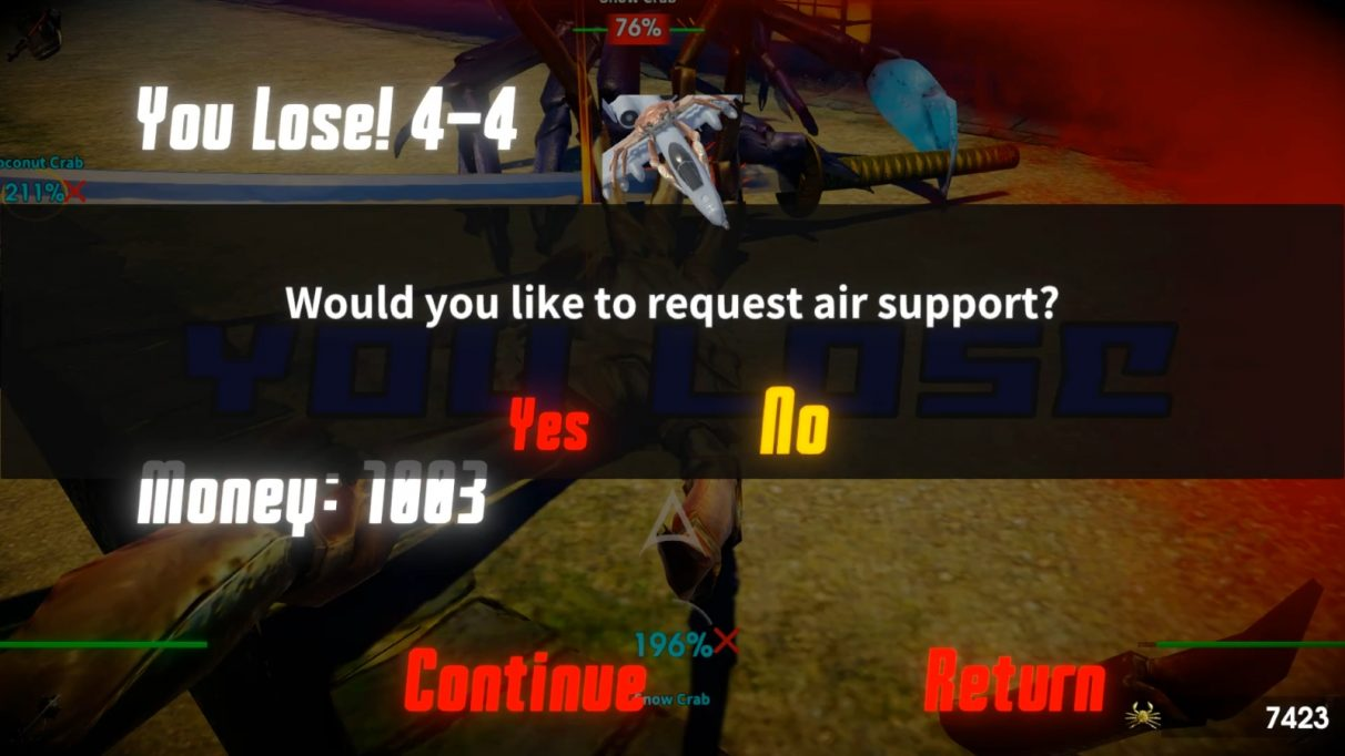 The player is asked whether they would liek to request air support. A crab riding a fighter jet is pictured.