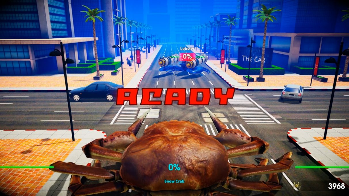 Nate squares up against a lobster with jet engines on its claws.