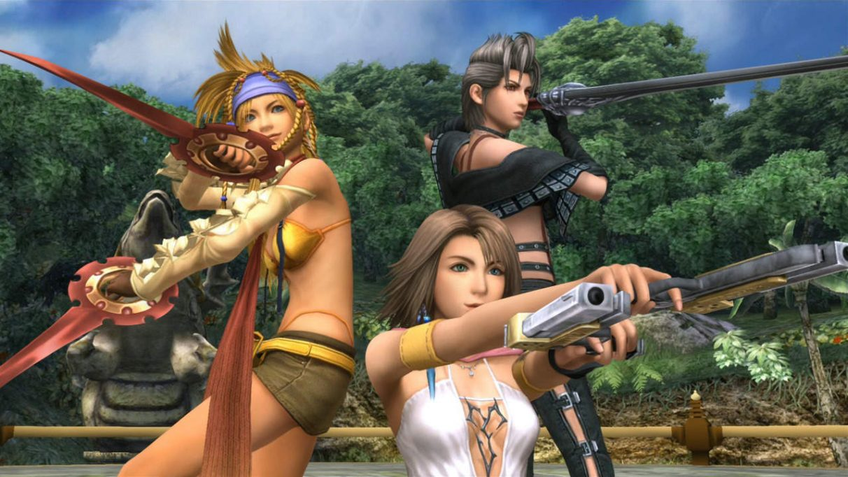 A screenshot of Yuna, Rikku and Paine from Final Fantasy X-2.