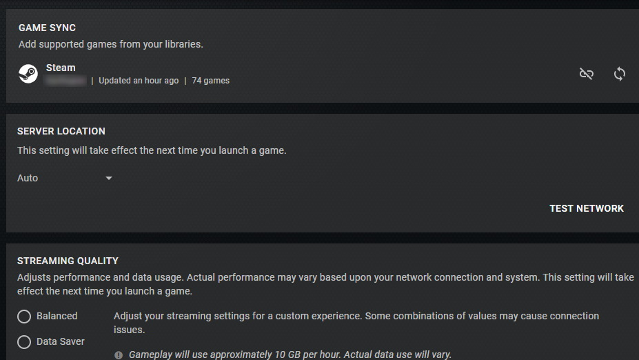 The most recent GeForce Now update adds a new Game Sync feature to its Settings menu.