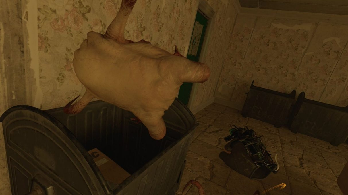 A screenshot showing a headcrab getting binned from Half-Life: Alyx mod, Bin Crabs.