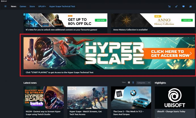 The Uplay store front page with the Hyper Scape beta banner highlighted.