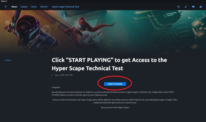"The ""Start Playing"" button to install the Hyper Scape beta in the Uplay app."