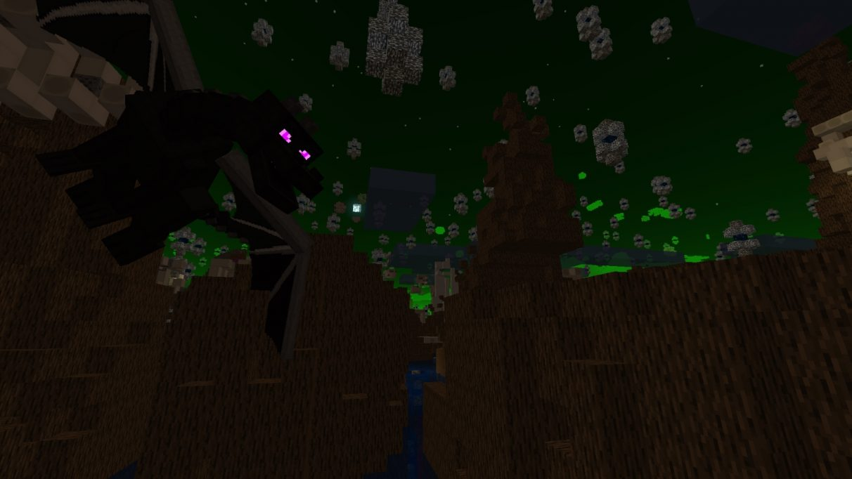 An ender dragon has a lovely fly around.